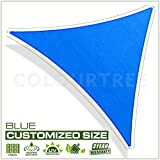 ColourTree Customized Size Order to Make Sun Shade Sail Canopy Mesh Fabric UV Block Right Triangle - Commercial Standard Heavy Duty - 190 GSM - 3 Years Warranty Right Triangle 24' x 24' x 33.9' Blue
