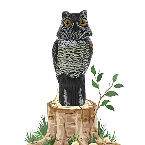 Asdomo Owl Scarecrow Bird Repellent Fake Owl Decoy with Rotating Head Motion Activated Scarecrow with Frightening Sound Deterrent Pest Repellent Garden Protector ()