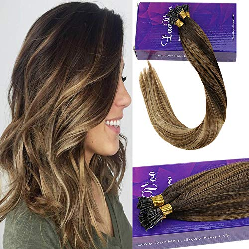 LaaVoo 22 Inch Straight I Tips Remy Human Hair Extensions Balayage Ombre Color Darkest Brown to Light Brown and Golden Blonde Stick Individual Strand Hair Extensions 1g/s 50g/Package (#2/8/16) ()
