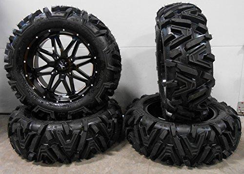 "Bundle - 9 Items: MSA Black Vibe 18"" ATV Wheels 32"" Moto MTC Tires [4x156 Bolt Pattern 12mmx1.5 Lug Kit]"