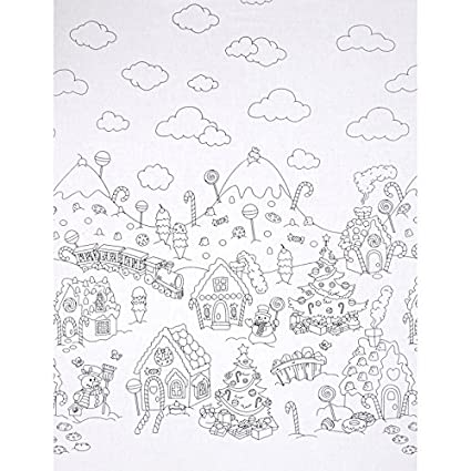 michael miller color me christmas candy border fabric by the yard grey