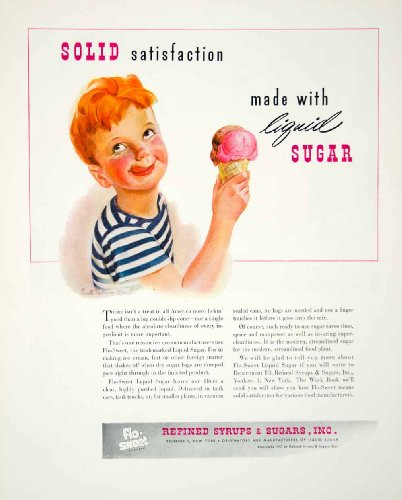 1947-ad-ice-cream-refined-syrups-sugars-boy-ginger-redhead-child-cone-eating-original-print-ad