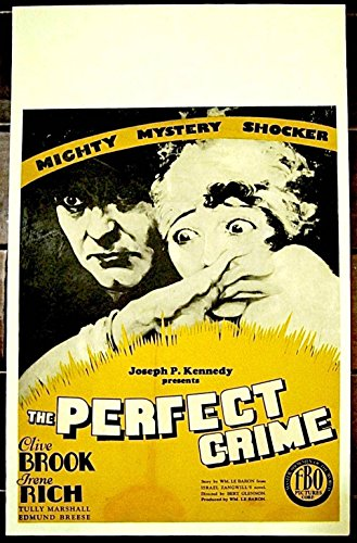 REDUCED 60 PERFECT CRIME 1928 SILENT FILM WINDOW CARD POSTER ~ CLIVE BROOK