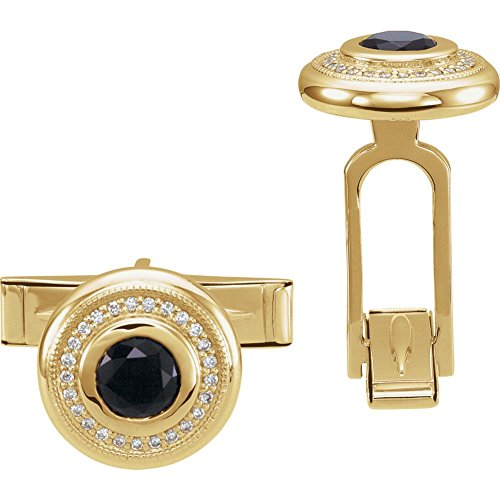 14k Yellow Gold Polished Mens Simulated Onyx and .06 Dwt Diamond Cuff Links