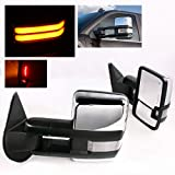 ModifyStreet Power Towing Mirrors Clear Lens Turn Signal(High Power COB) and Defrost and Clearance Light for 14-17 Chevy Silverado Avalanche Tahoe Yukon/XL/Denali Suburban or GMC Sierra - Chrome