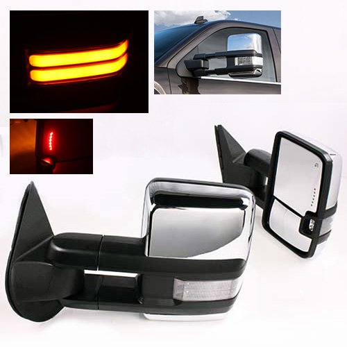 ModifyStreet Power Towing Mirrors Clear Lens Turn Signal(High Power COB) and Defrost and Clearance Light for 14-17 Chevy Silverado Avalanche Tahoe Yukon/XL/Denali Suburban or GMC Sierra - Chrome by ModifyStreet