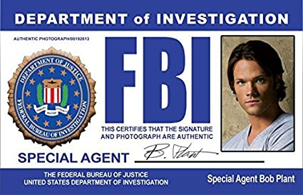 Sam Toys Agent com Fans Identification Aka Supernatural As For License Winchester Special Jared Plant I Fake Fbi Games amp; d Drivers Novelty Padalecki Bob Amazon Undercover
