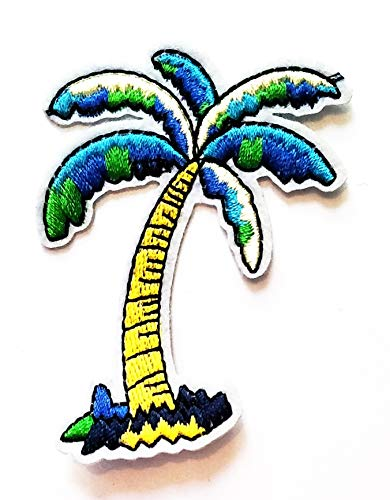 Nipitshop Patches Coconut Palm Tree high Coconut Palm Tree Island Summer Beach Hawaii Patch Embroidered Iron On Patch for Clothes Backpacks T-Shirt Jeans Skirt Vests Scarf Hat Bag
