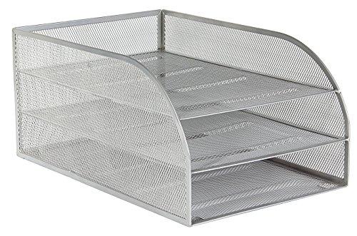 Osco 3TLTA-SLV - Bandeja para cartas de 3 niveles de malla metalica montada, color plateado