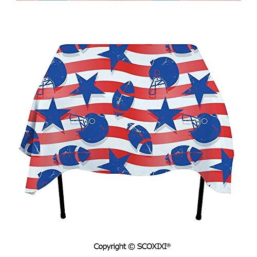 SCOXIXI Dining Accesorries Tablecloth Washable Polyester Fabric,Wavy Stripes and National Sport Icons in American USA Flag Inspired Colors,W55XL55 Inches