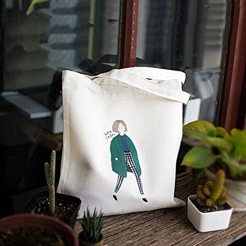 Wind Wild en Girl Femme White Tissu zipper Mori Original Frais bandoulière Fille Tote Sac Bisser pour Sac Art Blanc pour Petit College Femme BISSER Toile rqUawr1