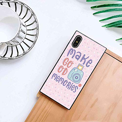 Square Production Memo Phone Case Compatible with iPhone Xs Max Soft TPU Fashion Bumper Shockproof Protective Cover