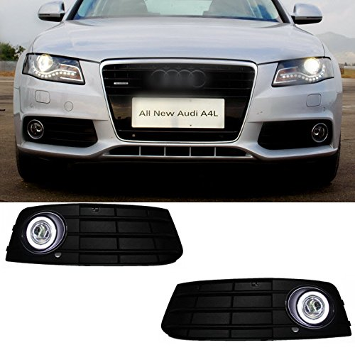 AupTech CCFL Technology Angel Eye Fog Light DRL Exact-Fit Fog Bumper Cover with Projector Lens for 2009-2012 Audi A4 B8