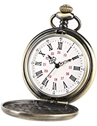 Vintage Bronze to My Son Engraved Kids Quartz Pocket Watches with Chain