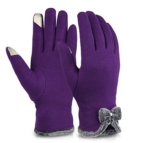 Vbiger Womens Winter Gloves Touch Screen Gloves Thick Warm Windproof Mittens (Purple) from VBIGER