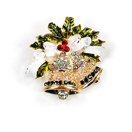 CocoRibbon Christmas Brooch Poinsettia Flower Reindeer Tree Wreath Cardinal Holiday Brooch Pin Holiday Jewelry Brooches Gift (Bell)