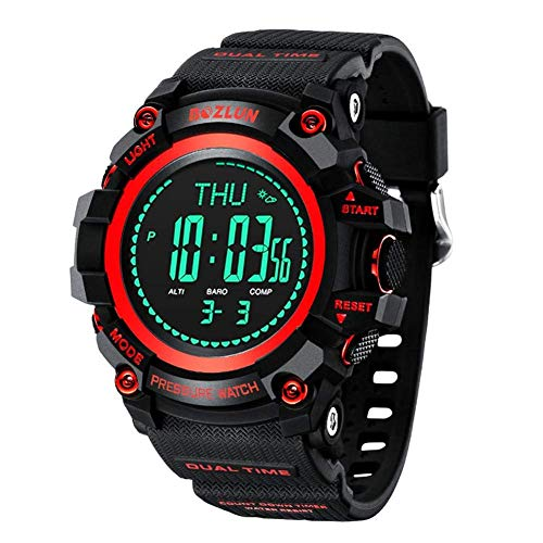 LHL Mg02 Men Sport Watches Outdoor Multi-Function Mountaineering Electronic Countdown Pressure Compass Watch Alarm Chrono Digital Wristwatches Waterproof,Red