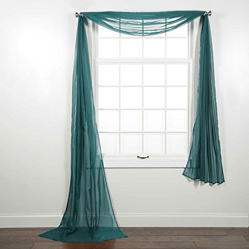 CURTAIN ONLINE'S 1PC VOILE SHEER WINDOW SCARF SWAG TIER TOPPER VALANCE IN 55X216