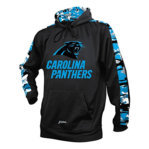 Zubaz NFL Carolina Panthers Men's Camo Print Accent Team Logo Synthetic Hoodie, X-Large, Black