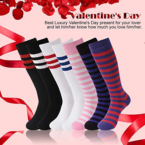 American Flag And Spain Flag Soccer Tube Sock Cotton Thigh High Compression Socks