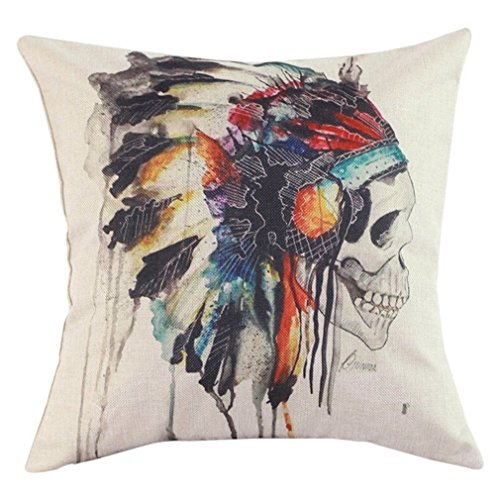 Onker-Cotton-Linen-Square-Decorative-Throw-Pillow-Case-Cushion-Cover-18-x-18-American-Indian-Skull-Headdress