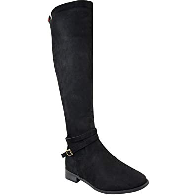 b6edaee9d090 Amazon.com | Fashion Thirsty Womens Low Heel Knee High Boots Designer  Inspired Striped Stretch Size | Knee-High
