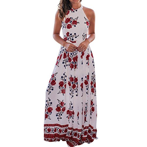 ZOMUSA Clearance Women's Summer Halter Neck Sleeveless Floral Printed Long Maxi Dress (M, - Sunglasses Costa Clearance