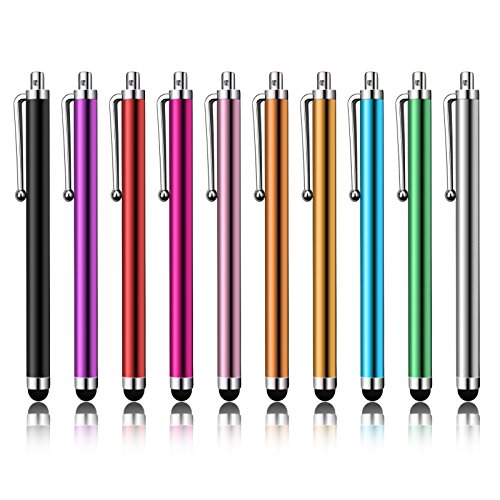 LIBERRWAY Stylus Pen 10 Pack of Pink Purple Black Green Silver Stylus Universal Touch Screen Capacitive Stylus for Kindle Touch ipad iPhone 6/6s 6Plus 6s Plus Samsung S5 S6 S7 - Silver Stylus
