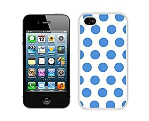 Cheap Polka Dot White and Blue Iphone 4 Case 4s White Cover Personalized Cell Phone Accessories by supermalls