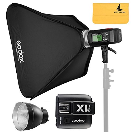 GODOX AD600BM AD Sync 1 / 8000s 2.4G Wireless Flash Light Speedlite+GODOX X1T-F for Fuji DSLR Cameras,AD-R6,80cmX80cm /32''X32''Softbox by Godox