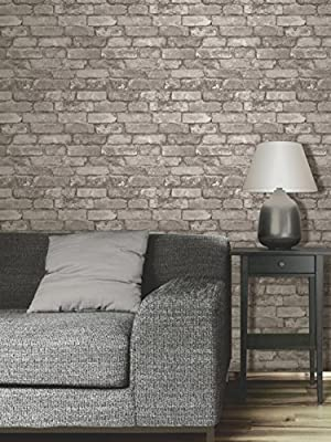 Fine Decor Charcoal Black / Silver Grey - Realistic - Fd31284 - Rustic Brick - Wallpaper