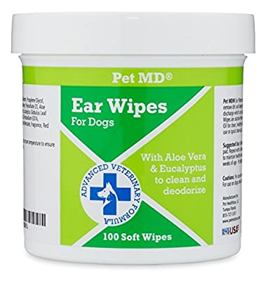 Pet MD - Dog Ear Cleaner Wipes - Otic Cleanser for Dogs to Stop Itching, Yeast and Mites with Aloe and Eucalyptus - 100 Count from Pet MD