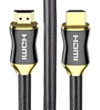 POLOK HDMI Cable 50 ft Ultra High Speed, Support 1080P, 3D, HDMI 1.4, 2.0, Ethernet, Audio Return, In Wall Installation, Zinc Metal Alloy Shielding Shell, 24K Gold Connector, Durable PVC Jacket, Gun Black Plated and Nylon Mesh Braid for HD TV, DVD, Notebook, Xbox 360, PS3, Blu-ray, Type Male A to Type Male A - Latest Specification