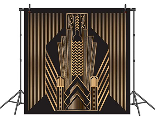 Great Gatsby Photography Backdrop Great for Wedding Party Decoration Photo Background Prop Studio Golden Deco Style Backdrops 6x6ft -