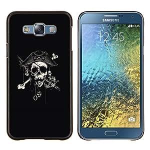 KLONGSHOP // Cubierta de piel con cierre a presión Shell trasero duro de goma Protección Caso - Capitán Espada Cráneo Negro Pirata - Samsung Galaxy E7 E700 //