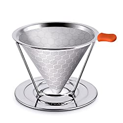 Pour Over Coffee Filter, Stainless Steel Drip Cone Coffee Filter - Paperless & Reusable - Permanent Coffee Dripper for 1-4 Cups [2nd Generation Honeycomb Design No Clogging] by E-PRANCE from E-PRANCE
