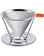 E-PRANCE Filtri Permanenti per Caffè in Acciaio Inox, Design del Favo Cono Caffè Dripper Senza Carta e Riutilizzabile con Separato Supporto per 1 – 4 Tazze