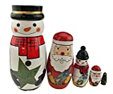 Set of 5 Wooden White Snowman Santa Claus Christmas Tree Nesting Dolls Matryoshka Russian Doll For Kids Stacking Toy Christmas Gift Home Decoration