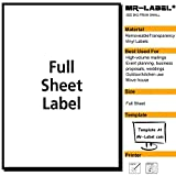 MR-LABEL Clear Full Letter Sheet Removable Adhesive Labels –Transparent Tear-Resistant Waterproof Stickers for Kitchen Use   Manufacturing and Storage-Laser Print Only (100 Sheets)