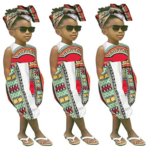 Fheaven 2Pcs Toddler Kids Baby Girl Summer Outfits Clothes African Print Sleeveless Romper Jumpsuit +Headband White