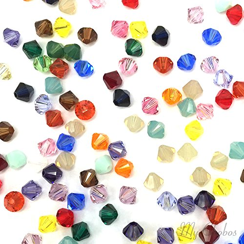 50 pcs Swarovski 5328 / 5301 6mm Crystal Xilion Bicone Beads MIX Colors **FREE Shipping from Mychobos ()