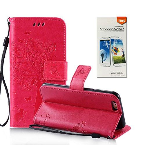 OuDu Funda iPhone 6 Plus/6S Plus Carcasa de Billetera Funda PU Cuero para iPhone 6 Plus/6S Plus Carcasa Suave protector con Correas de Teléfono Funda Arbol Flip Wallet Case Cover Bumper Carcasa Flexib