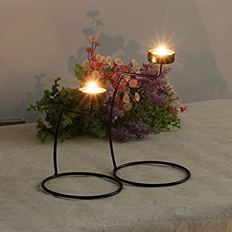 Home-organizer Tech Candlelight Dinner Wedding Candlestick Black Iron Candlestick Candle Holder (San Miguel Salt)