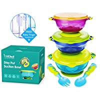 MiChef Stay Put Suction Bowl, Spill Proof, Baby Bowls with Snap Tight Lids, B...