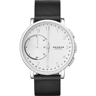 Skagen Men's 42mm Hagen Connected Black Leather Hybrid Smart Watch