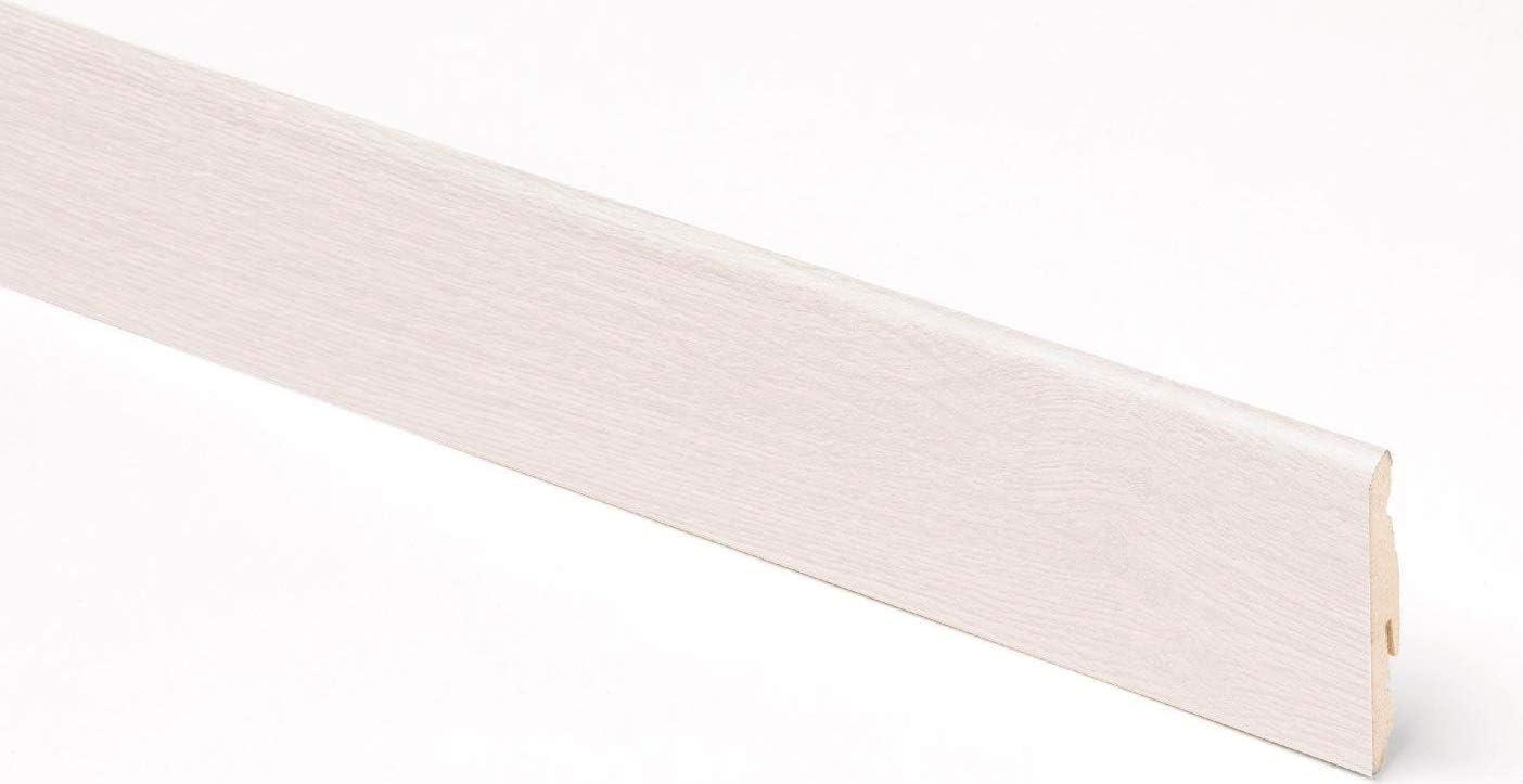 Battiscopa in MDF 58x14 mm Lunghezza 2.40 m Finitura Rovere Ghiaccio Bianco