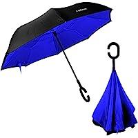Redlemon Paraguas Invertido con Doble Refuerzo, Resistente a Vientos y Lluvias Fuertes, Mango Ergonómico en Forma C, Fácil de Transportar y Libre de Escurrimientos. Azul