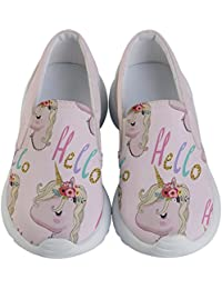 Girls Autumn Woodland Animals Unicorns Forest & Shark Pattern Kids' Lightweight Slip Ons Shoes