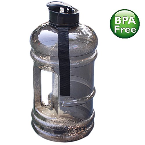 ENINE 2.2L Plastic Water Bottle Large Capacity with Carrying Loop BPA Free Leakproof Jug Container Resin Fitness for Camping Training Bicycle Gym Outdoor Sports -Bottle Transparent (Black)