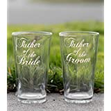 Elegant Father of the Bride Glass and Father of the Groom Glass, Hand Engraved - Set of 2 - Choose from Pilsner, Pint, Whisky or Wine Glasses - Elegant Font